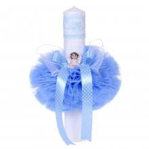 Lumanare botez ingeras, decor bleu, Denikos® 66