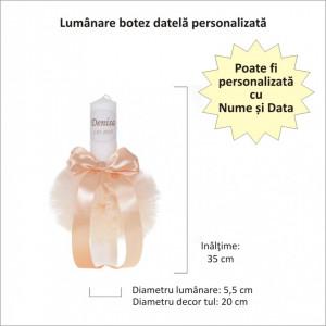 Lumanare botez personalizata, decor crem / ivoire cu tul si dantela, Denikos® 724