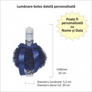 Lumanare botez personalizata si trusou botez in landou, decor Bleumarin, Denikos® 807