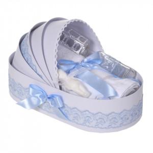 Lumanare botez personalizata si trusou botez in landou, decor dantela Bleu, Denikos® 868