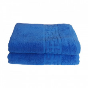 Set 2 prosoape mari groase si pufoase, bumbac, model grecesc, Albastru, Denikos® 240