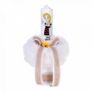Set botez traditional fetita, trusou botez landou, lumanare si costum popular fata, Denikos® 972