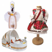 Set botez traditional fetita, trusou botez landou, lumanare si costum traditional, Denikos® 982