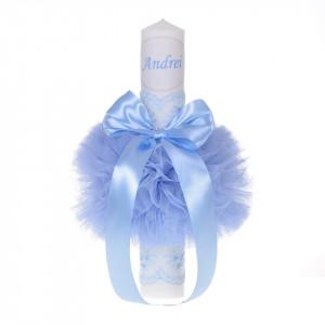 Set elegant trusou botez, cutie trusou si lumanare personalizata cu nume, decor dantela Bleu, Denikos® 940