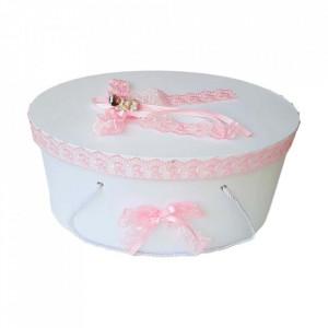 Set trusou botez si cutie trusou, Ingeras, dantela roz, Denikos® 454