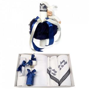 Trusou botez cu mesaj si lumanare cu iepuras, decor bleumarin, Denikos® 543