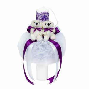 Trusou botez cu ursulet si lumanare glob, dantela si ursuleti, decor Mov, Denikos® 604