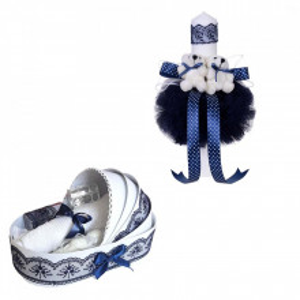 Trusou botez in landou si lumanare glob cu ursuleti, decor bleumarin Denikos® 156