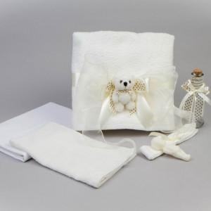 Trusou botez ivory cu ursulet NK0006