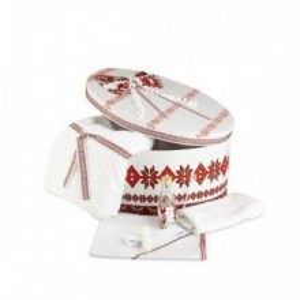 Trusou botez si cutie traditional alb rosu NK-TR-001