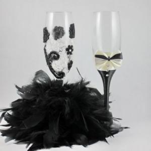 Pahare nunta pene dantela ivoire si negru PN009