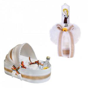 Trusou botez in landou si lumanare, pentru fetita, decor traditional Denikos® 117