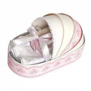 Trusou botez complet, in landou, decor elegant cu dantela roz Denikos® 141