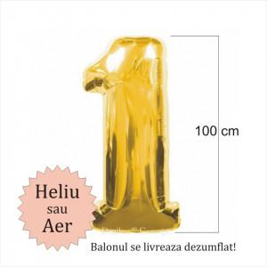 Balon folie cifra 1 auriu