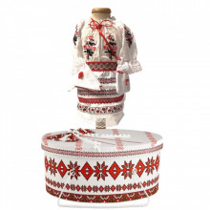 Costum botez traditional fetita si cutie trusou asortata, Denikos® 995
