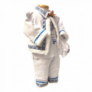 Costum popular botez baietel, broderie Blue, Denikos® 675