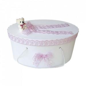 Cutie trusou botez dantela lila si ursulet, Denikos® 392