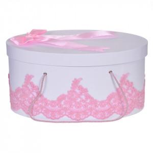 Cutie trusou botez dantela roz eleganta si o fundita asortata, Denikos® 825