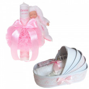 Lumanare botez cu iepuras, personalizata si trusou botez in landou, decor Roz, Denikos® 797