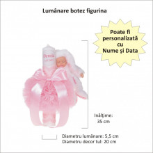 Lumanare botez cu iepuras, personalizata si trusou botez in landou, decor Roz cu floricele, Denikos® 799