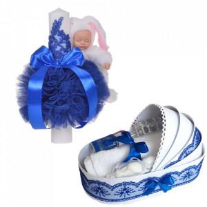 Lumanare botez glob iepuras pufos si trusou botez in landou, decor Albastru, Denikos® 764