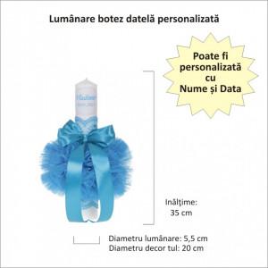 Lumanare botez personalizata si trusou botez in landou, decor dantela Turcoaz, Denikos® 870
