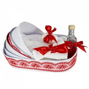 Lumanare botez personalizata si trusou botez in landou, decor Rosu, Denikos® 781