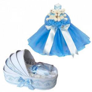 Lumanare botez tul bleu cu ursuleti si trusou botez in landou, Denikos® 594