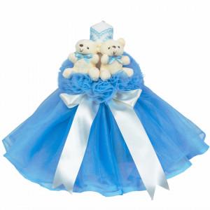 Lumanare botez tul si ursuleti si trusou botez dantela, decor Bleu, Denikos® 614