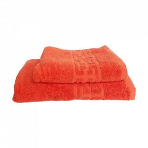 Set 2 prosoape groase si pufoase, bumbac, model grecesc, Orange, Denikos® 292
