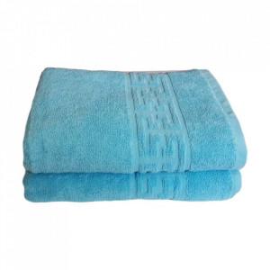 Set 2 prosoape mari groase si pufoase, bumbac, model grecesc, Bleu, Denikos® 246