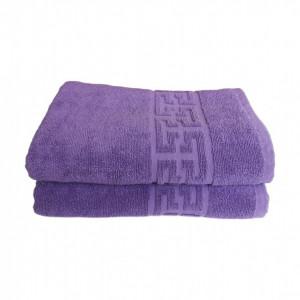 Set 2 prosoape mari groase si pufoase, bumbac, model grecesc, Lila, Denikos® 266