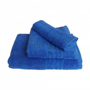 Set 3 prosoape groase si pufoase, bumbac, model grecesc, Albastru, Denikos® 241