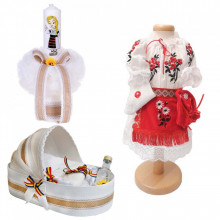 Set botez traditional fetita, trusou botez landou, lumanare si costum traditional, Denikos® 984