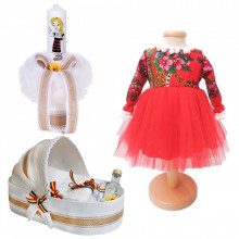 Set botez traditional fetita, trusou botez landou, lumanare si costum traditional, Denikos® 989
