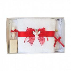 Set dantela trusou botez, cutie trusou si lumanare, Ingeras, decor Rosu, Denikos® 571