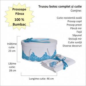 Set elegant trusou botez, cutie trusou si lumanare, decor dantela Turcoaz diafana, Denikos® 960