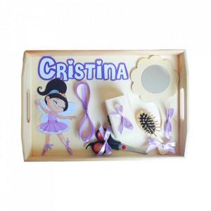 Set tavita turta, fetita 1 an, fundite lila, decor balerina, Denikos® 191