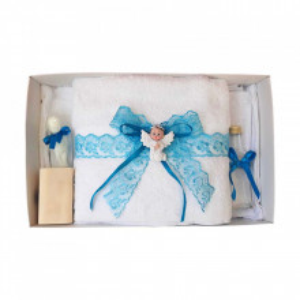 Set trusou botez, cutie trusou si lumanare, dantela si Ingeras, decor Turcoaz, Denikos® 561