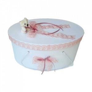 Set trusou botez, cutie trusou si lumanare, dantela si Ursuleti, decor roz pudra, Denikos® 556