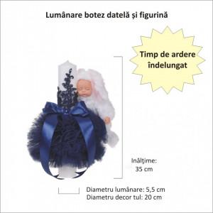 Trusou botez cu mesaj si lumanare eleganta glob cu dantela si iepuras pufos, decor bleumarin, Denikos® 759