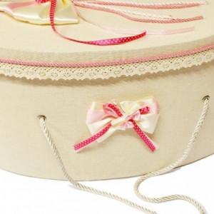 Trusou botez si cutie decorata cu fluturasi si fundite roz LG205-1