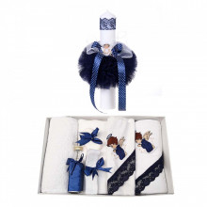 Trusou botez cu ingeras si lumanare pentru baietel, decor bleumarin, Denikos® 118