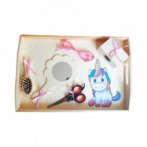 Set tavita mot simpla, fetita 1 an, fundite roz, decor unicorn, Denikos® 204