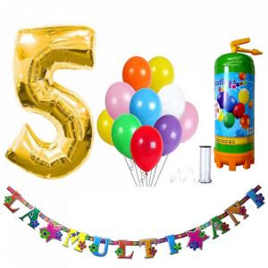 Butelie heliu, cifra 5 balon folie, banner si 10 baloane latex