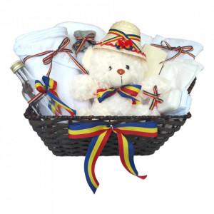 Cos cadou trusou botez, Ursulet, model traditional tricolor, 12 piese, Denikos® 648