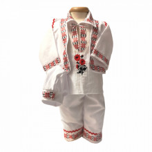 Costum traditional botez baietel, Rosu, Denikos® 673