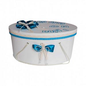 Cutie trusou botez personalizata, decor turcoaz, Denikos® 236