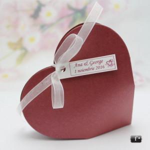 Cutiute marturii nunta / botez inimioare colorate VN006