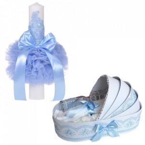 Lumanare botez glob cu dantela si trusou botez in landou, decor Bleu, Denikos® 751